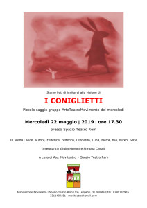 Locandina Arteteatromovimento I coniglietti - saggi rem 2019
